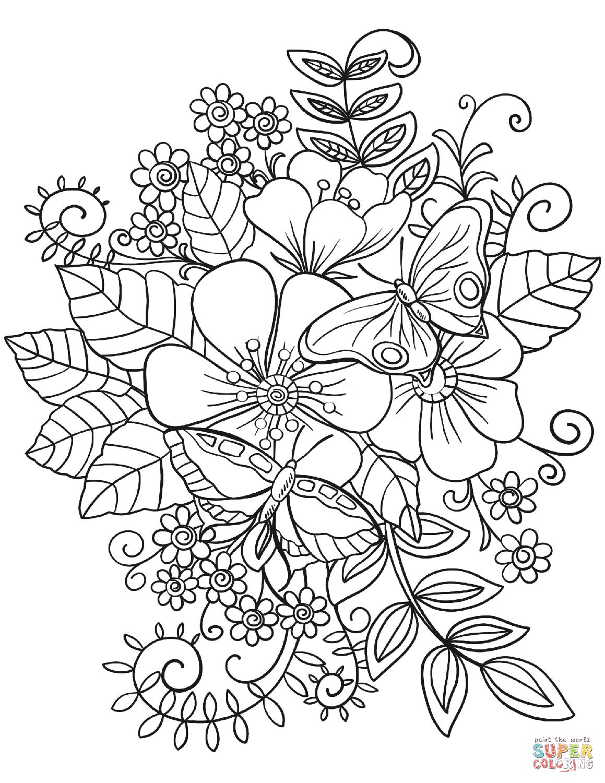Mariposas en flores  Super Coloring  Printable flower coloring
