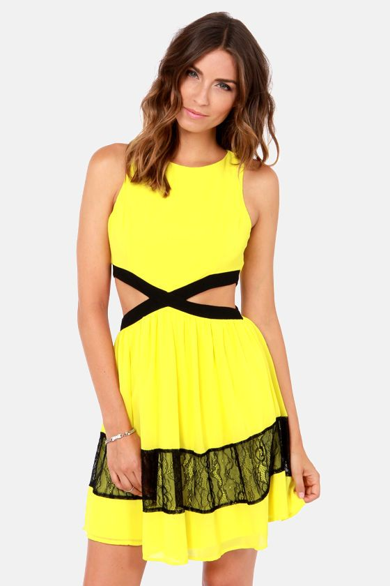 Cutout Yellow Dress...its bright, so I live itt