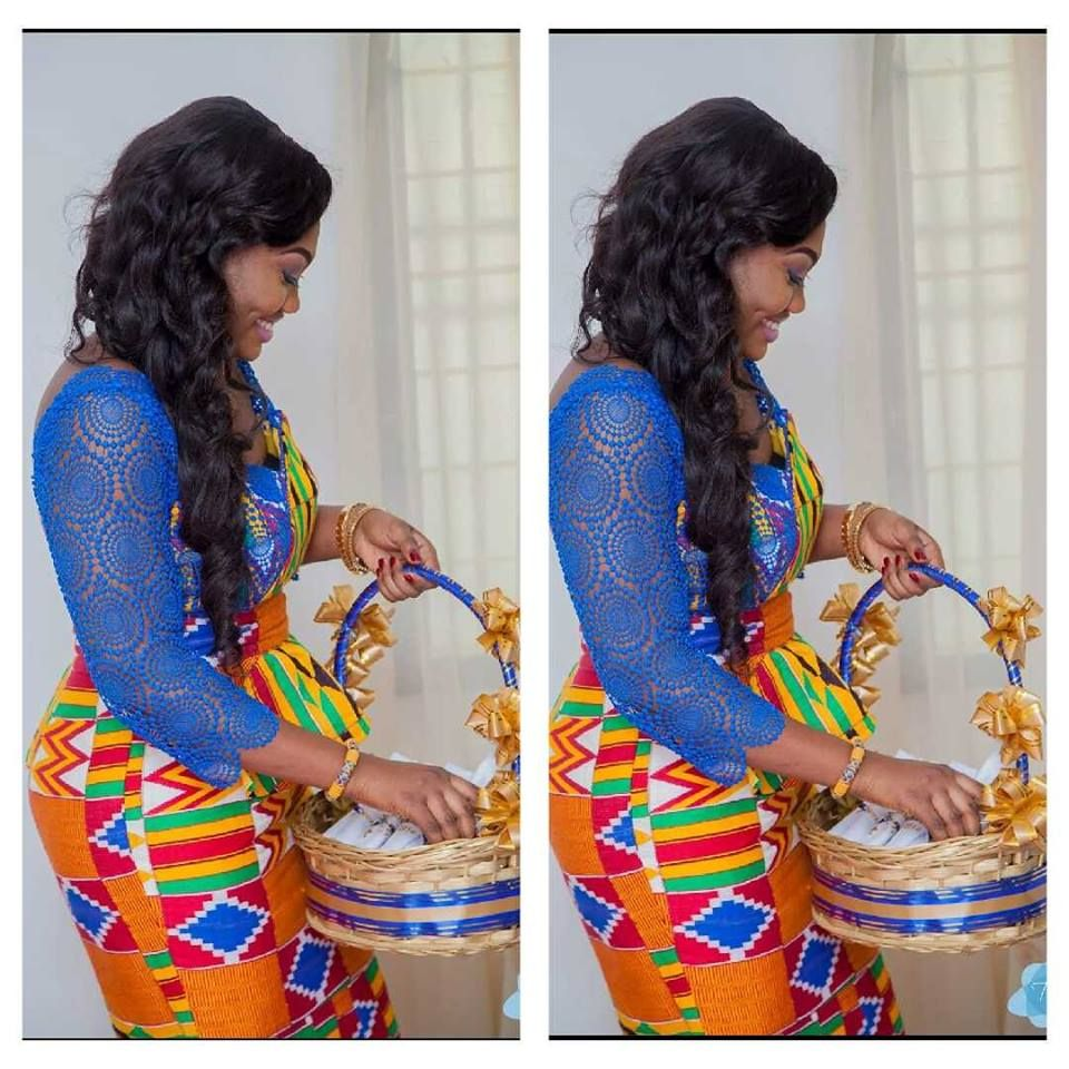Kente wedding decorations  A Ghanaian bride Repost from I Do Ghana Facebook Photo Credit Tixs