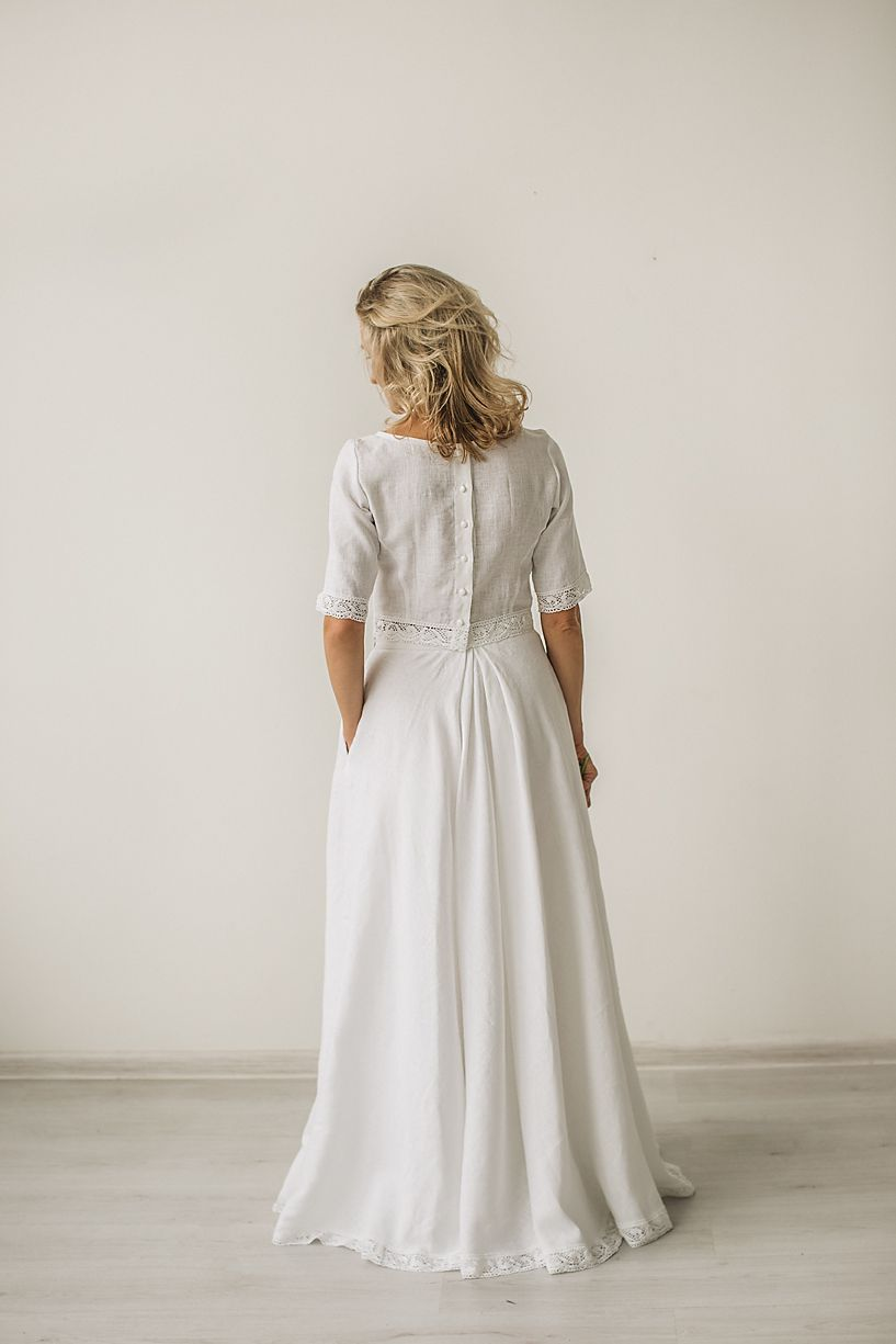 27af6f4436 Linen crop top wedding dress with a lace handcrafted cozyblue all our linen  jpg 817x1225 Linen