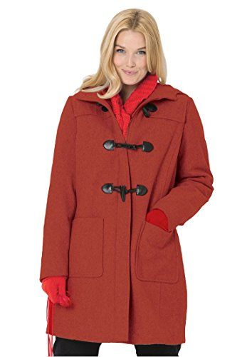 Woman Within Womens Plus Size Classic Duffle Coat