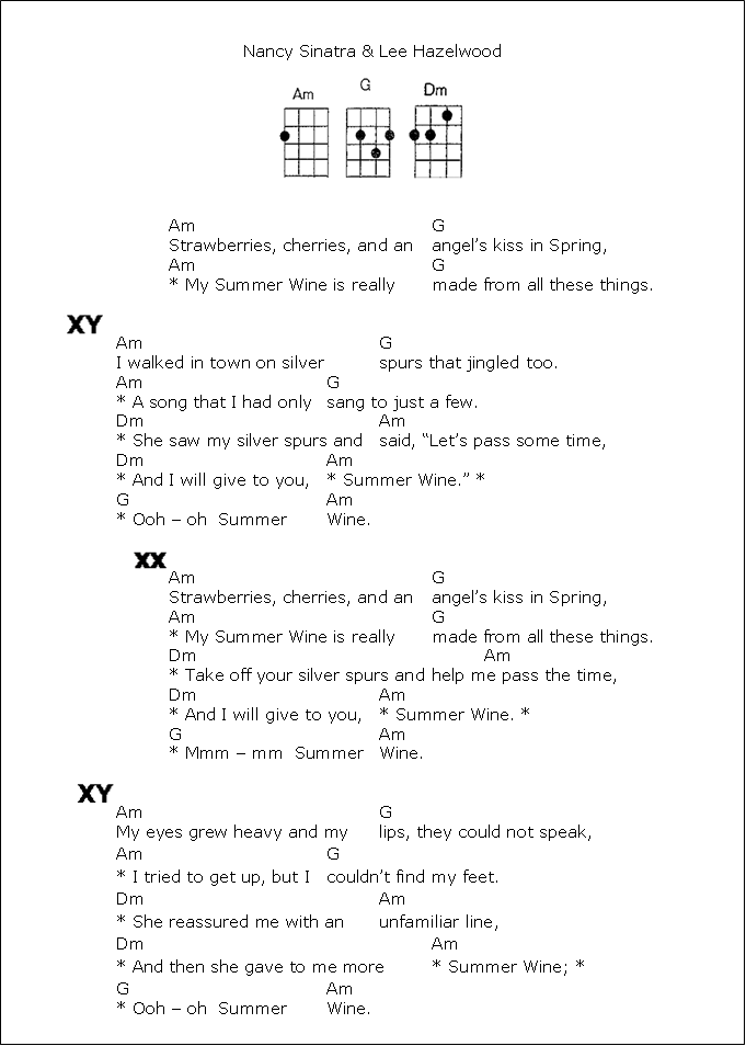Summer Wine1 Ukulele Pinterest Ukulele Songs And Songs
