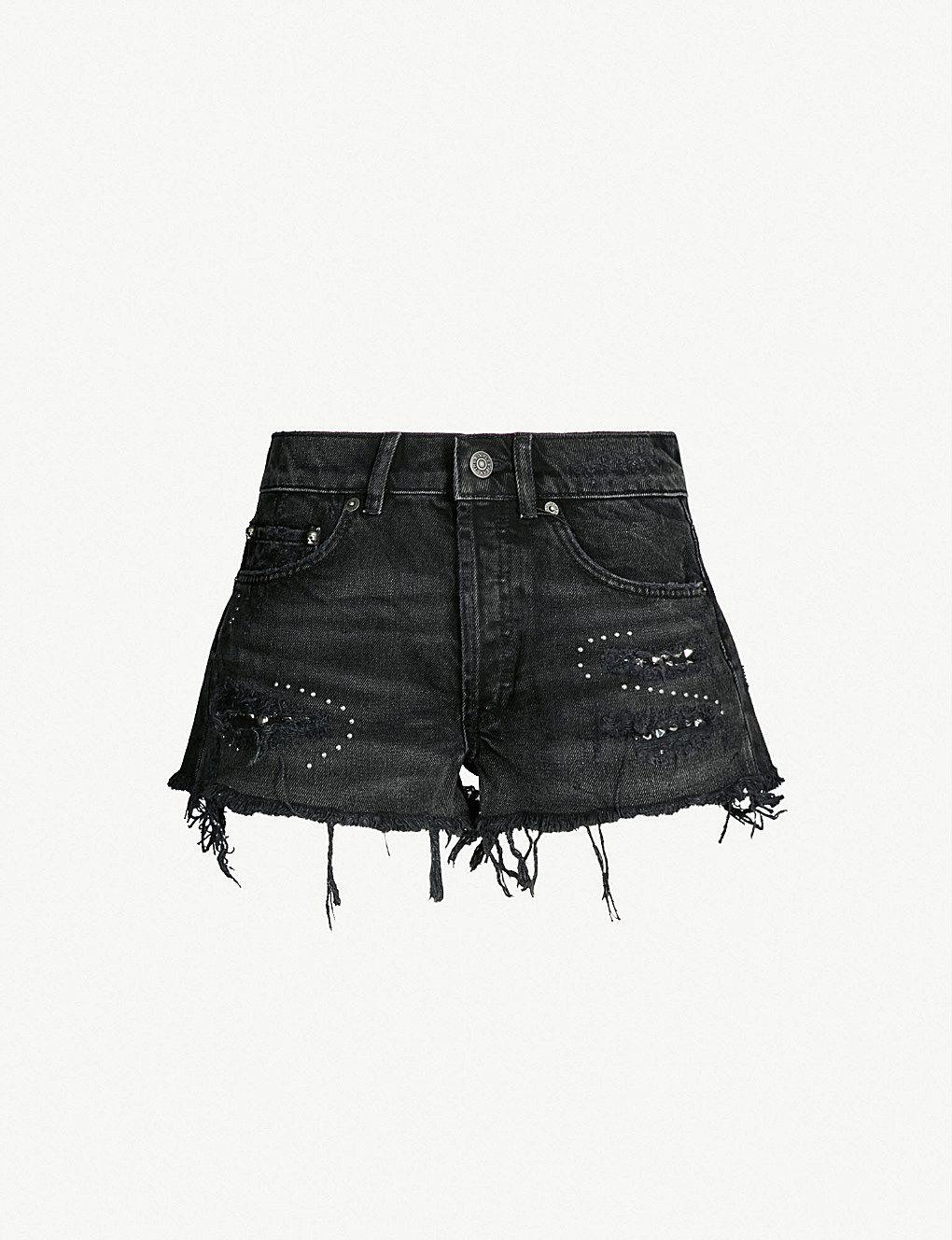beb2aaf9fe Studded high-rise denim shorts in 2019 | denim | Denim shorts, Denim ...