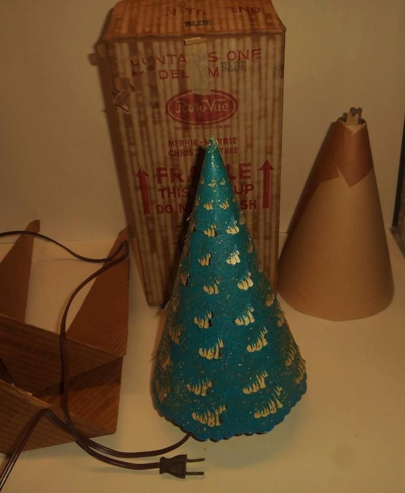 Econolite Roto-Vue Merrie Merrie Christmas Tree Motion Lamp W Original Box ~ Vintage 1950s