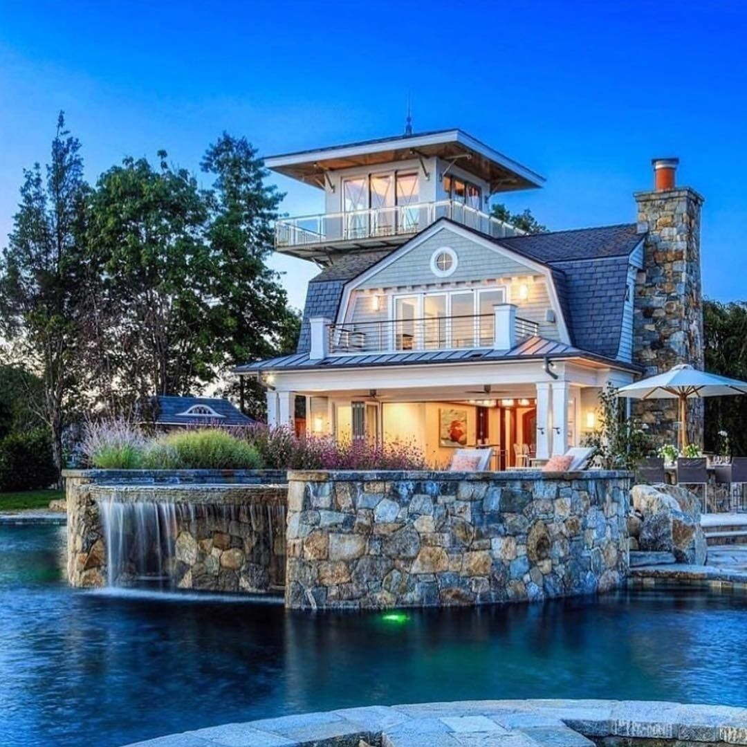 Mansion Luxury Pools With Waterfalls: Swimming Pool And Waterfall