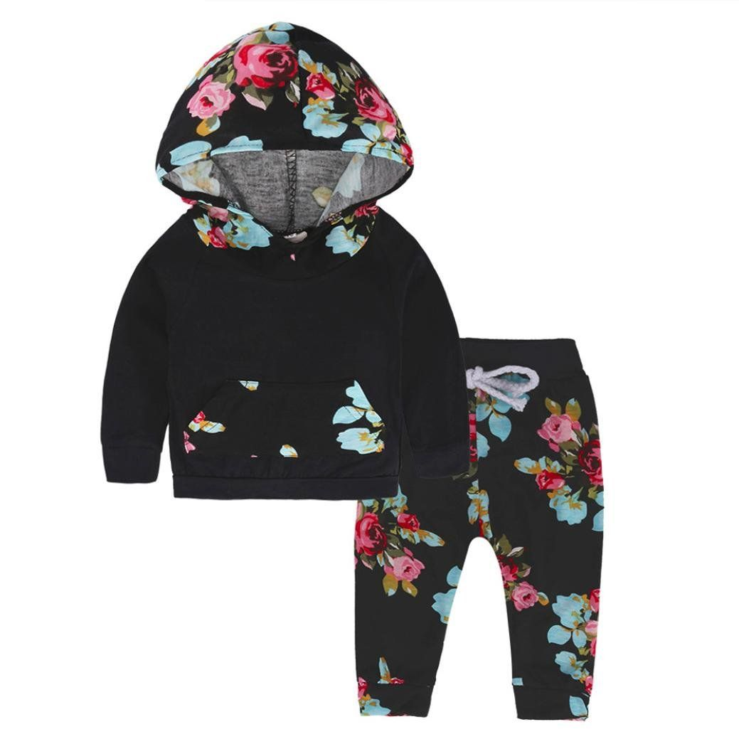 7e7fc7687 Foutou Newborn Baby Boys Girls Long Sleeve Hoodie Tops+Floral Pants ...