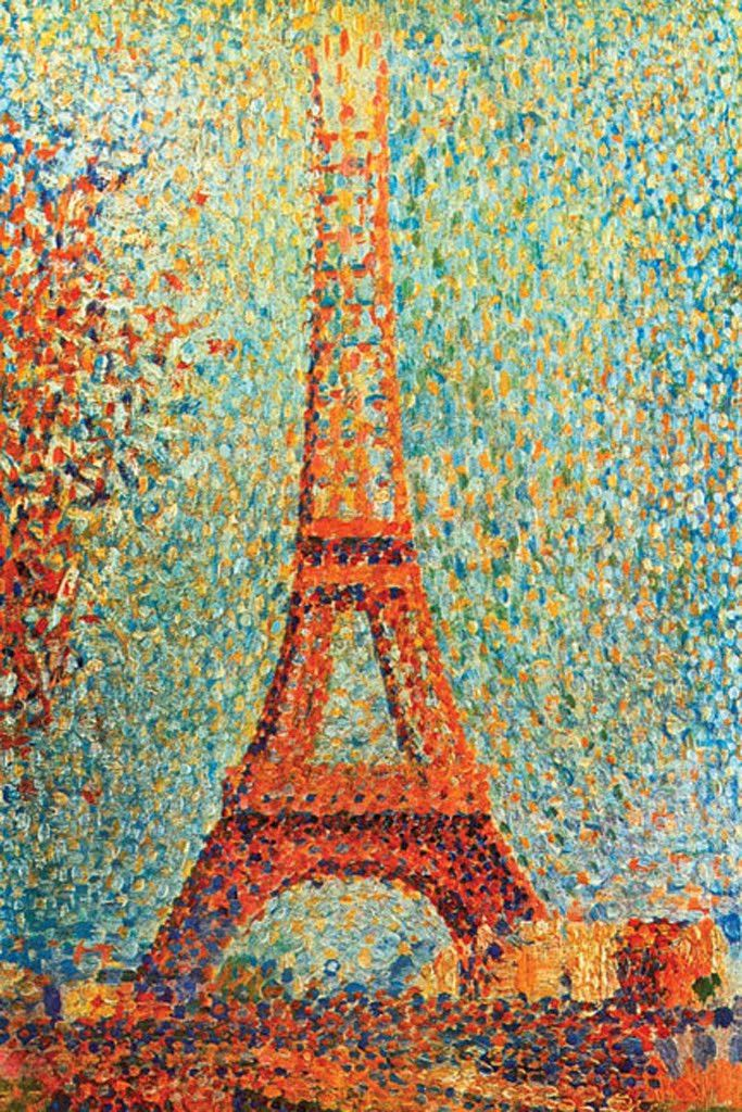 the eiffel tower by georges seurat most popular art map