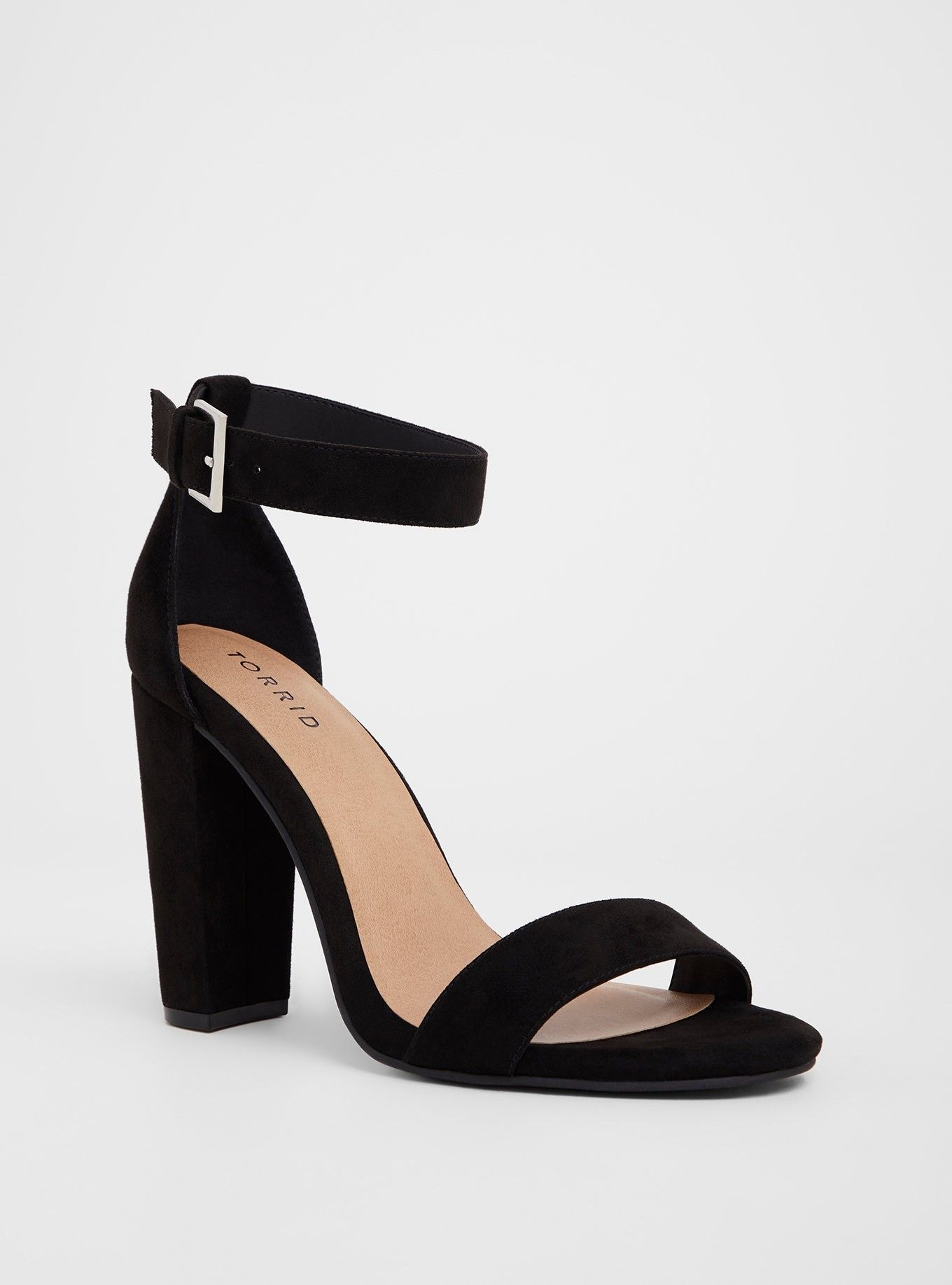 17cbeea7c5 Black Chunky Heel Sandal (Wide Width) - Black faux leather wraps this basic  high