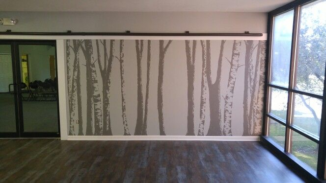 Birch Tree Mural. Dark Grey Trees Painted Onto A Light Grey Wall With An  Overhead Part 81