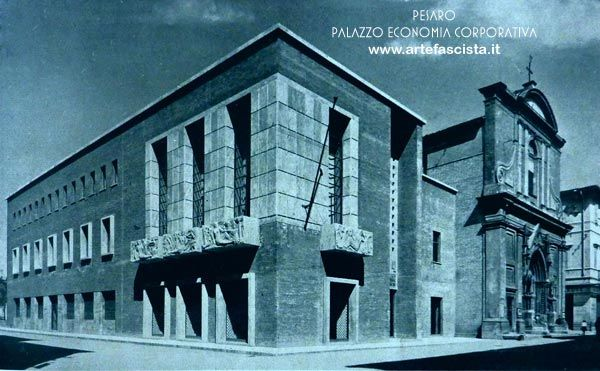 Pesaro - Palazzo dell'Economia Corporativa - 1936 - XIV anno E.F.  Arch. Mario Paniconi e Giulio Pediconi  foto d' epoca