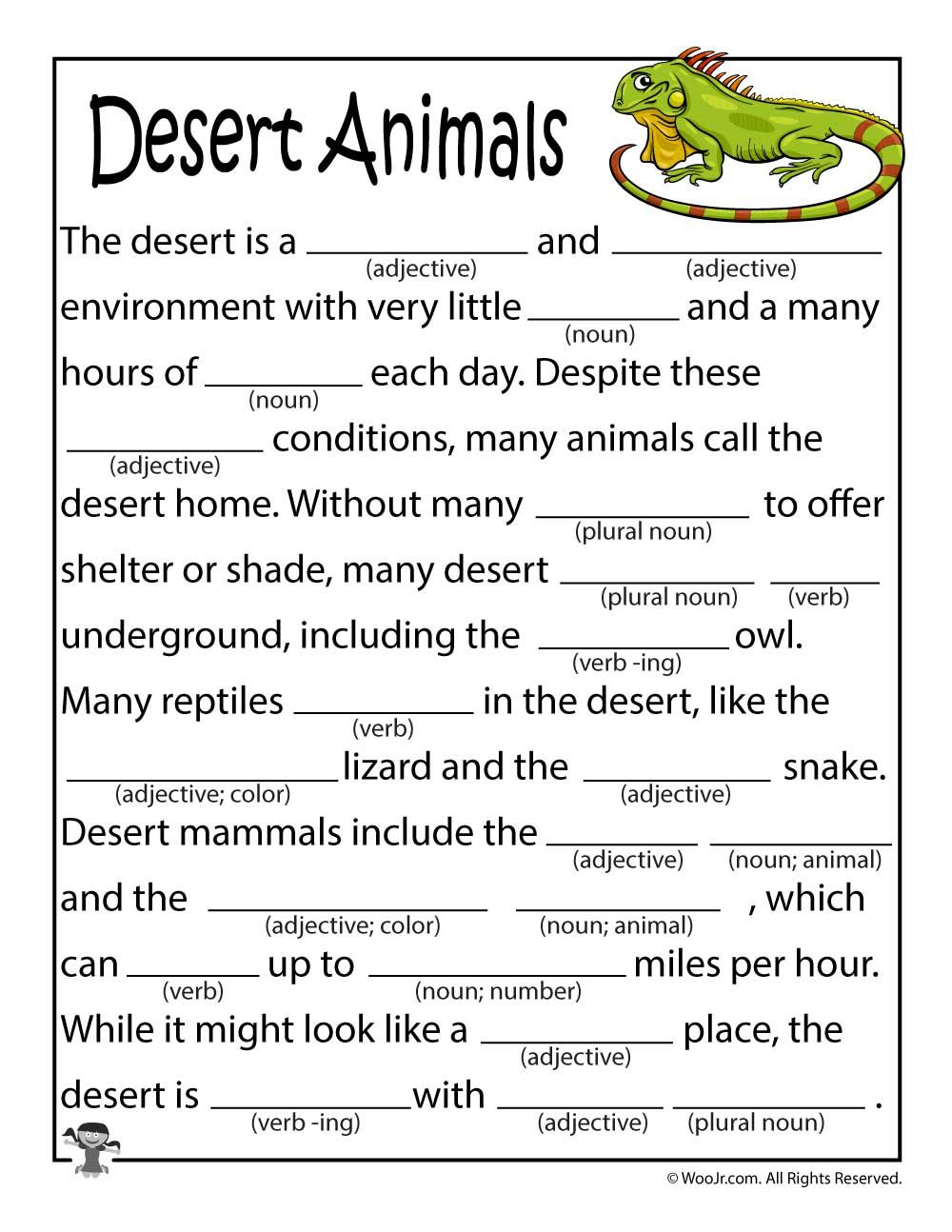 Desert Animals Printable Mad Lib Woo! Jr. Kids