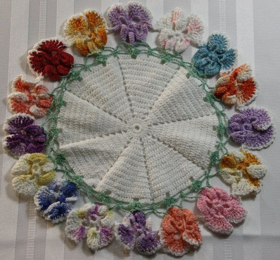 Vintage Hand Crochet Doily Pansy Pattern Multicolored by Decoliner, $9.99
