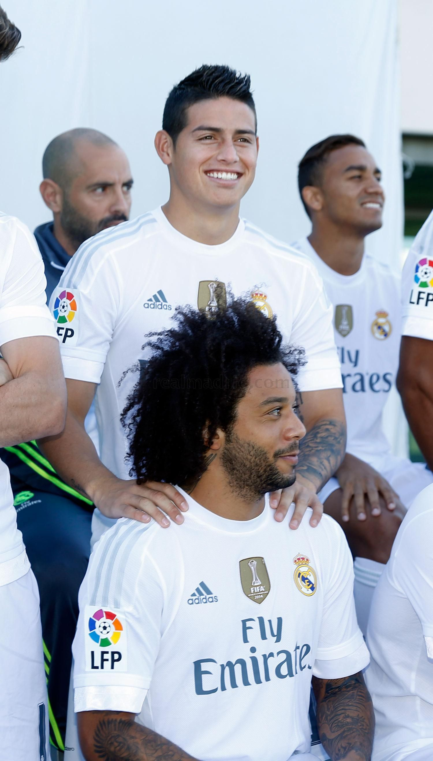 A look at Real Madrid's official photograph for the 2015/16 season | Real Madrid CF. James and Marcelo I foreground. 21.9.15