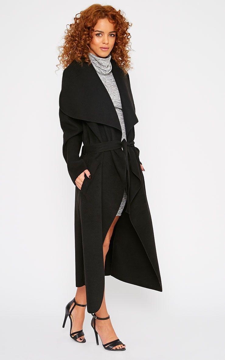 2b9936c5af8 Veronica Black Oversized Waterfall Belt Coat - Coats - PrettyLittleThing