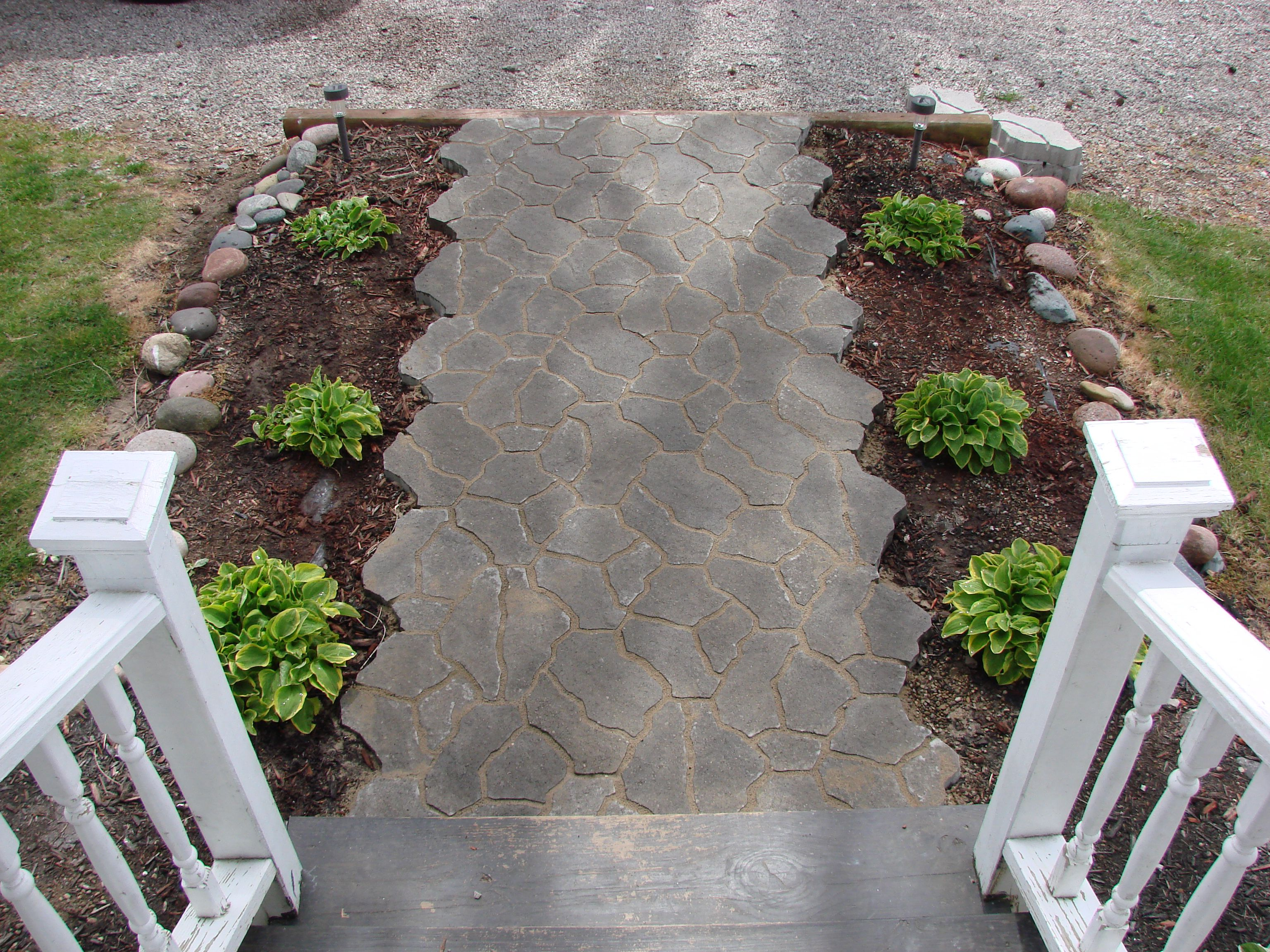 graveled and flagstone patio Flagstone pavers from Menards