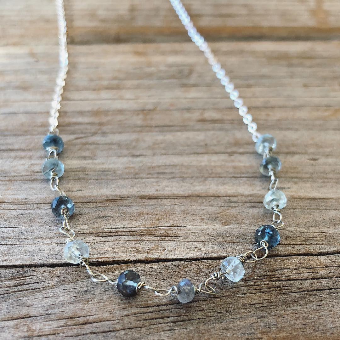 Wire Wrapped Aquamarine Necklace #oneofakind #aquamarine #gemstone #gemstonejewelry #onlyone #blue #christmasgift #giftforher #socaljewelry #etsy  #etsyseller #etsyshop #ootd #ootdfashion #handmade #wirewrapped