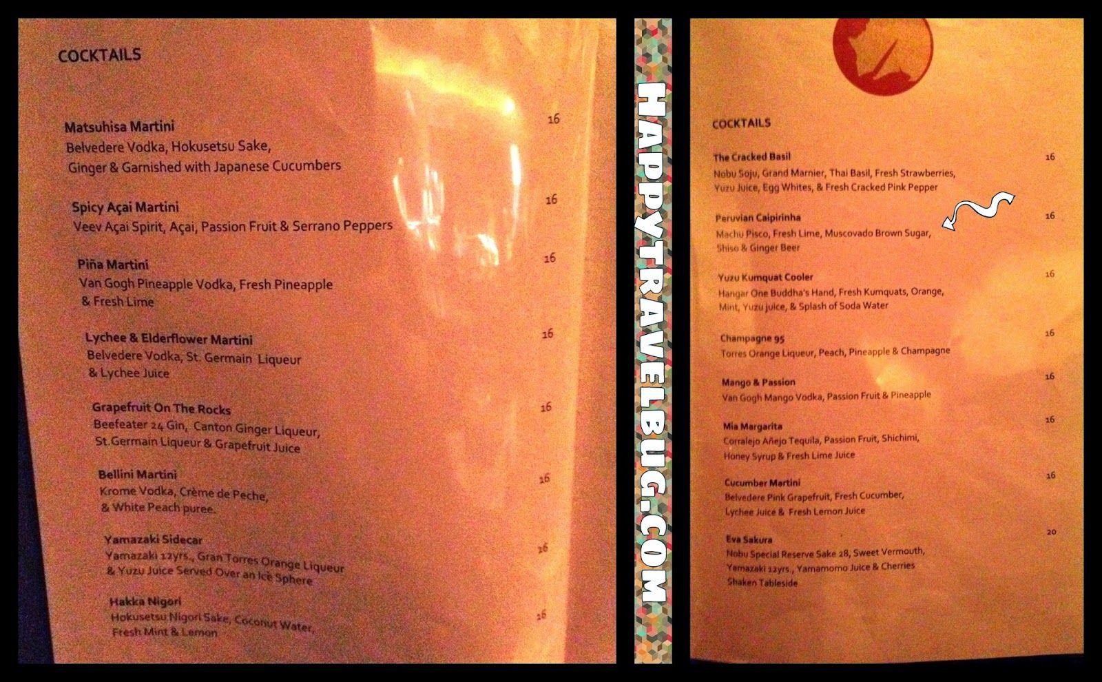 Cocktail menu at Nobu in Las Vegas | Menus | Pinterest | Menu ...