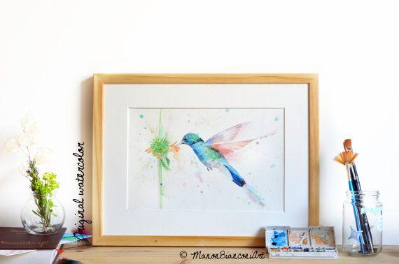 Aquarelle Originale Colibri En Vol Peinture Naturaliste Oiseau