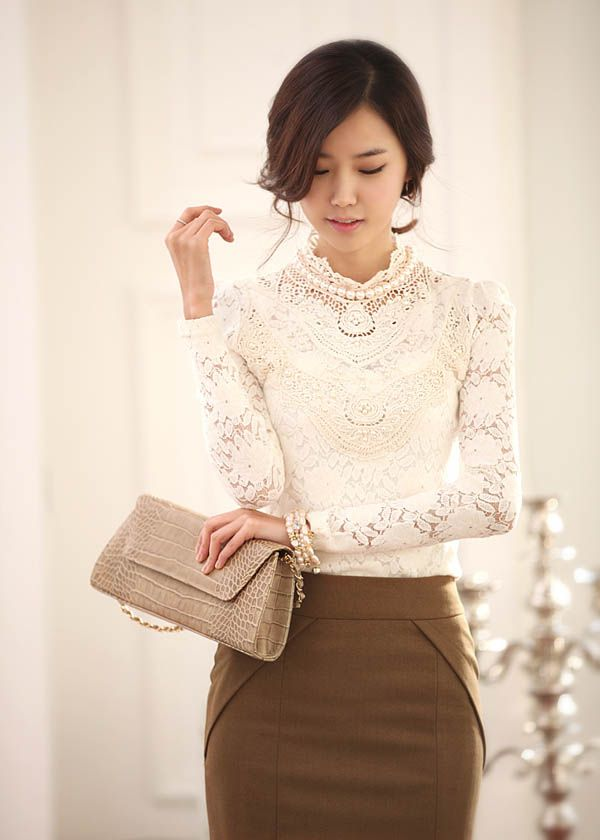 $12.50 Want this shirt soo bad, but i cant fit the chest part T-T...  Christmas free shipping 2013 autumn/winter Elegant high quality lace collar patchwork slim long sleeve women blouses 9170Y-in Blouses & Shirts from Apparel & Accessories on Aliexpress.com