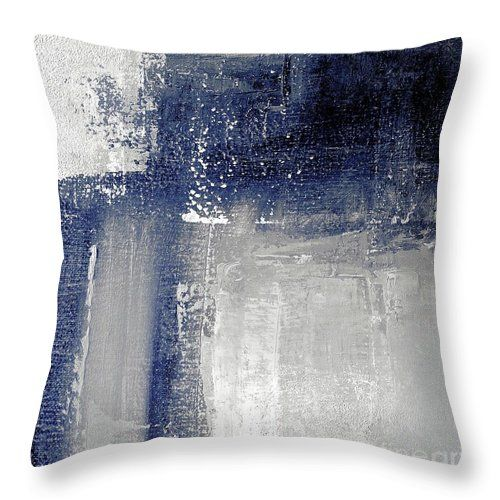 Navy blue and grey abstract Throw Pillow for Sale by Vesna Antic