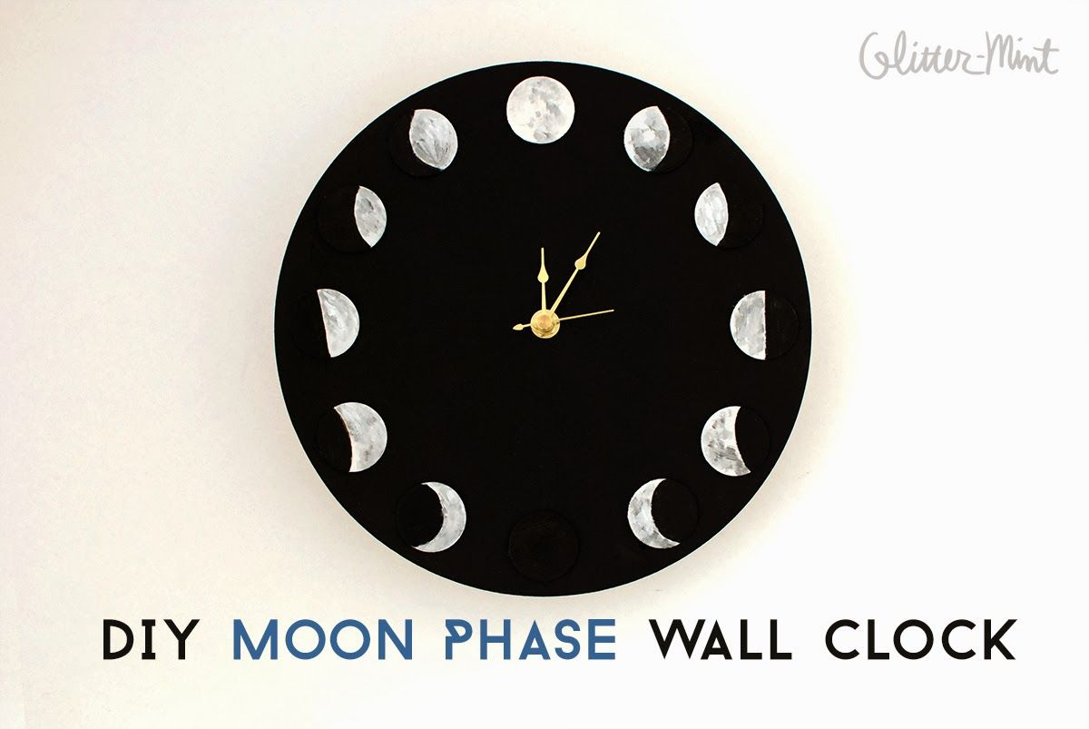 Diy Moon Phase Wall Clock Glitter Mint Pilows Bricolage Deco