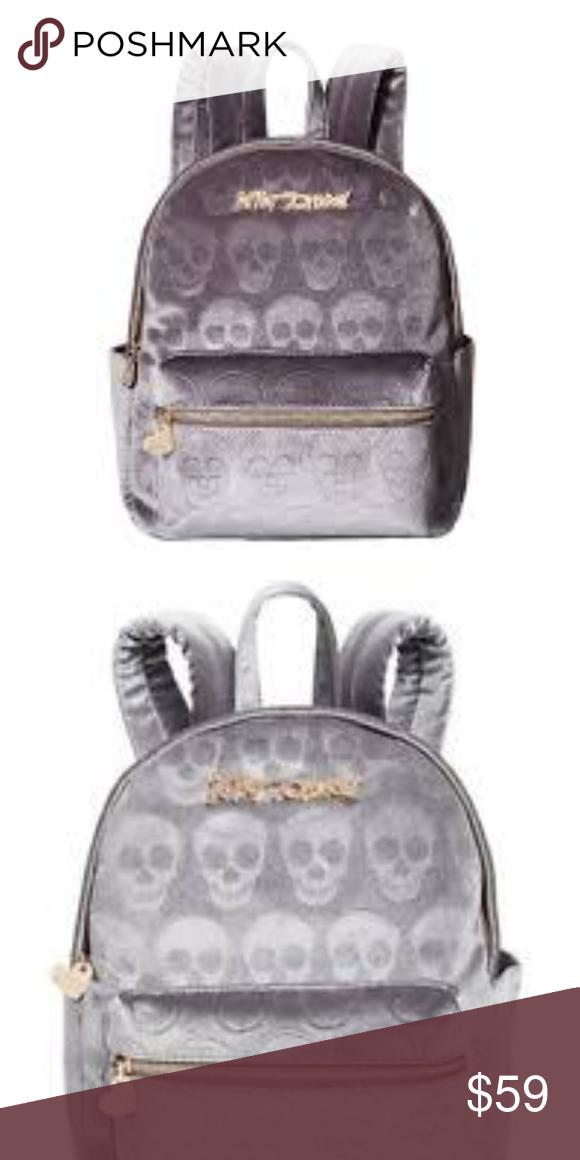 bd157055575 BETSEY JOHNSON Velvet Skull Mini Back Pack Bag BETSEY JOHNSON Velvet Skull  Mini Back Pack Bag