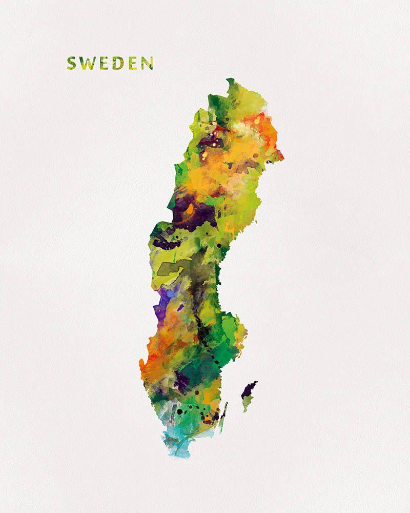 Sweden Map Print Watercolor Swedish Print Wall Art Sweden Poster