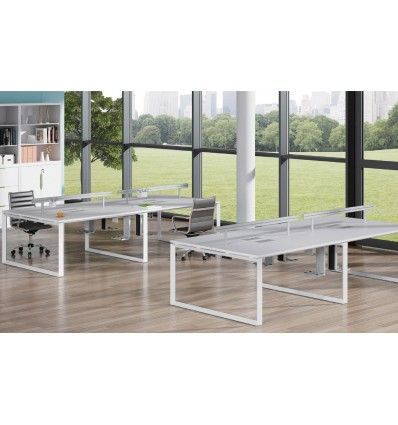 Buy Workstations in Dubai | Cluster of 4 Face to Face w/o Modesty Panel in Powder Coated Steel in White and Silver Finish Online from iFurniture Office Furn...