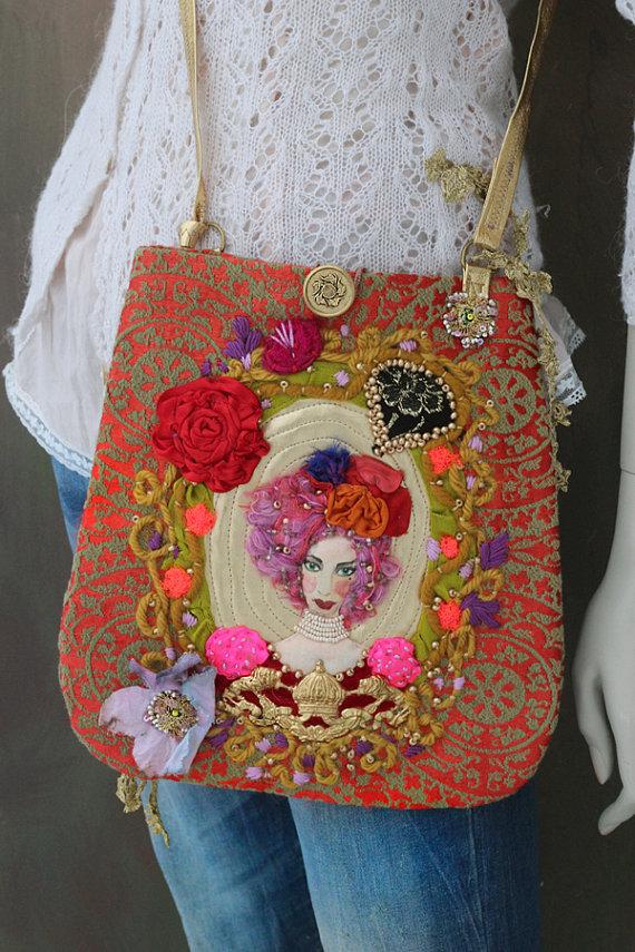 Regina rossa borsa borsa-wearable art romantici di FleursBoheme