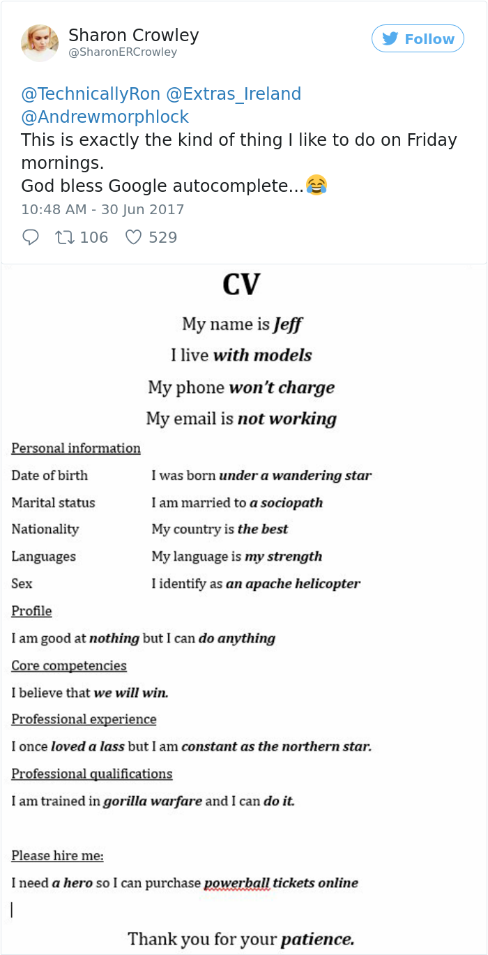 this guy just wrote his resume using google autocomplete and it s