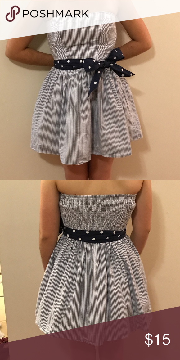 b552625bdb8 Strapless hollister dress super cute blue and white striped dress with blue  and white polka dot