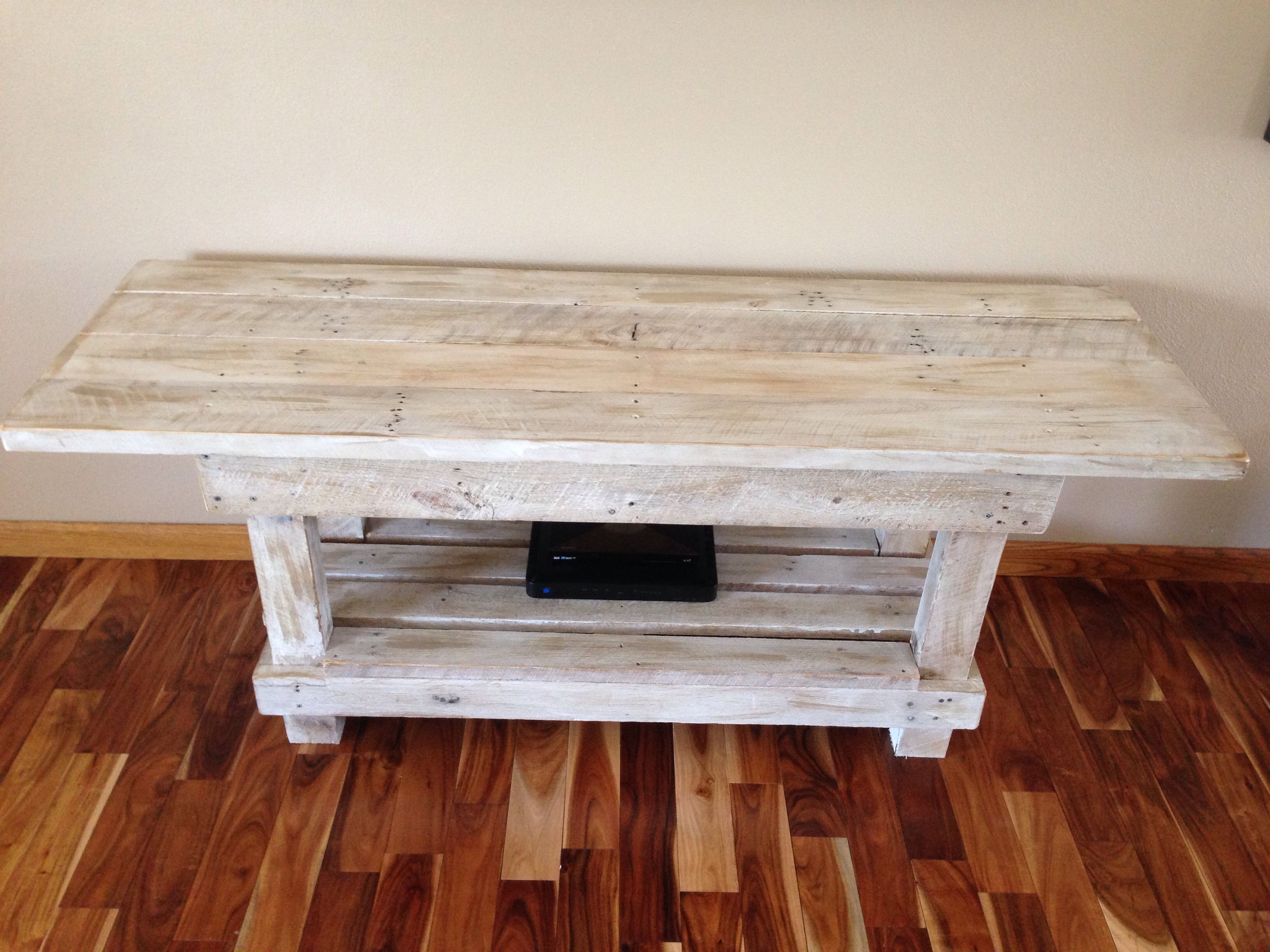 Reclaimed Wood Table, White Washed And Distressed With Stain. 2x6 Boards On  Top 4x4