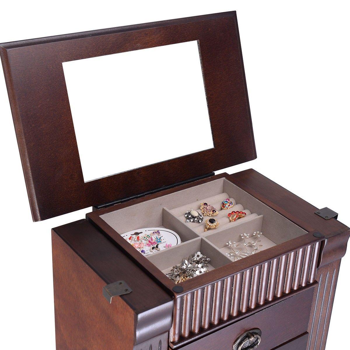 Jewelry Cabinet Armoire Box Storage Chest Stand Organizer Necklace