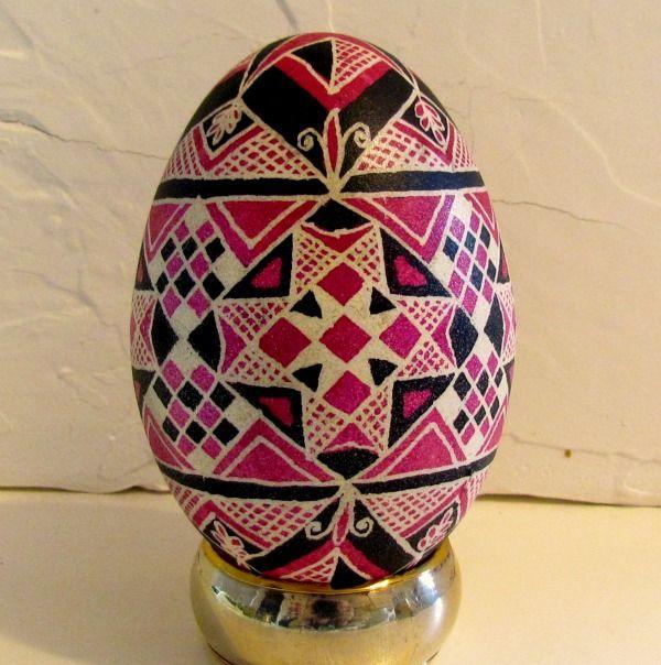 Tickled Pink- hand dyed Ukrainian goose egg- collectors item.