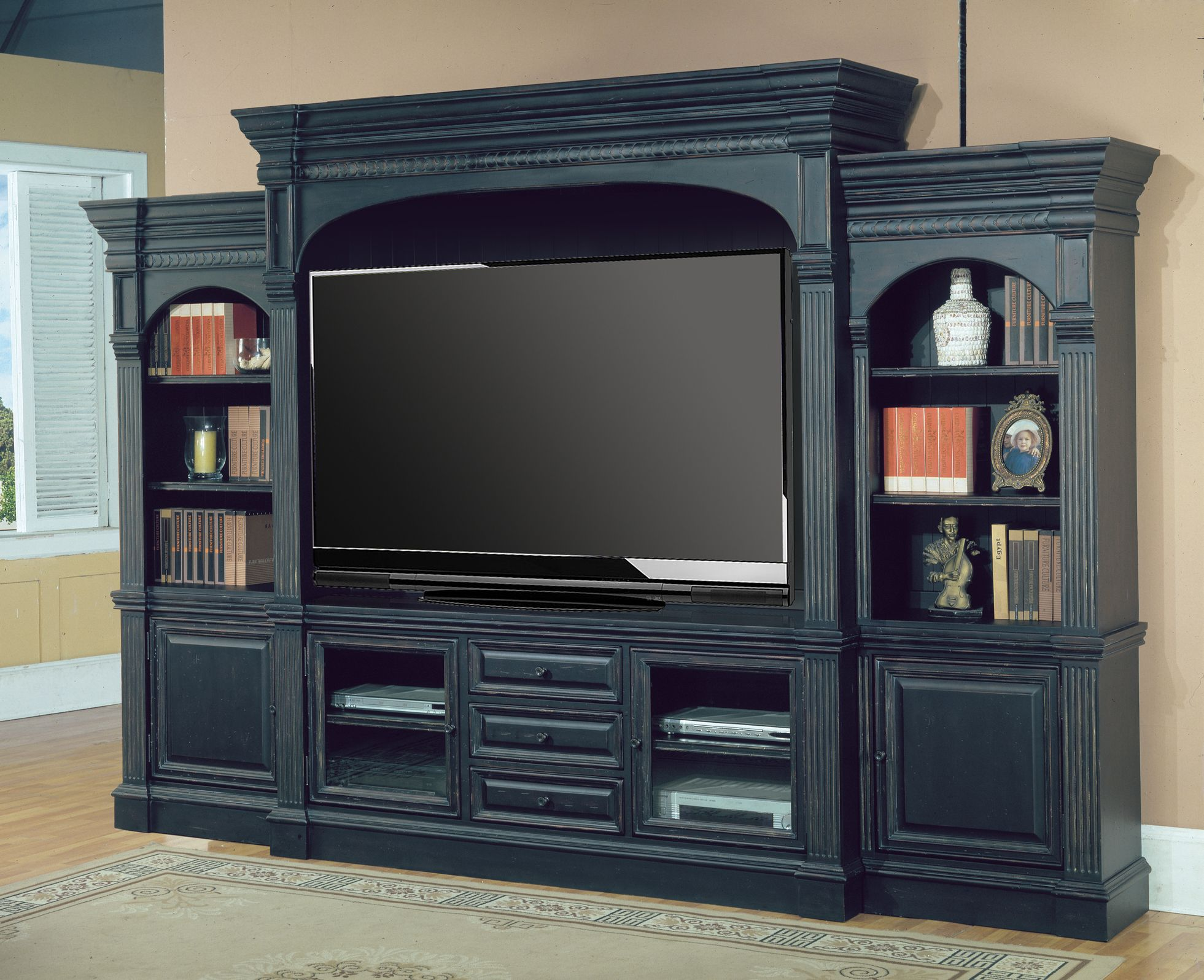 black wall units for living room early american furniture entertainment center venezia 77 5pc unit in vintage finish