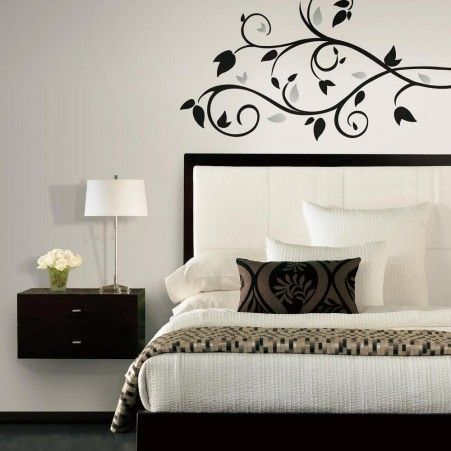 Amazing Black Scroll Branch Wall Decals With Foil Leaves