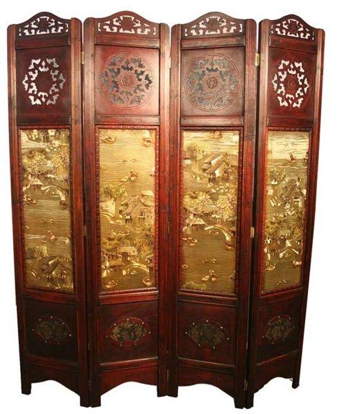 chinese screens room dividers | Vintage Oriental Style 4 Panels Screen Room  Divider - Oriental Asian Coromandel Room Divider Oriental, Products And