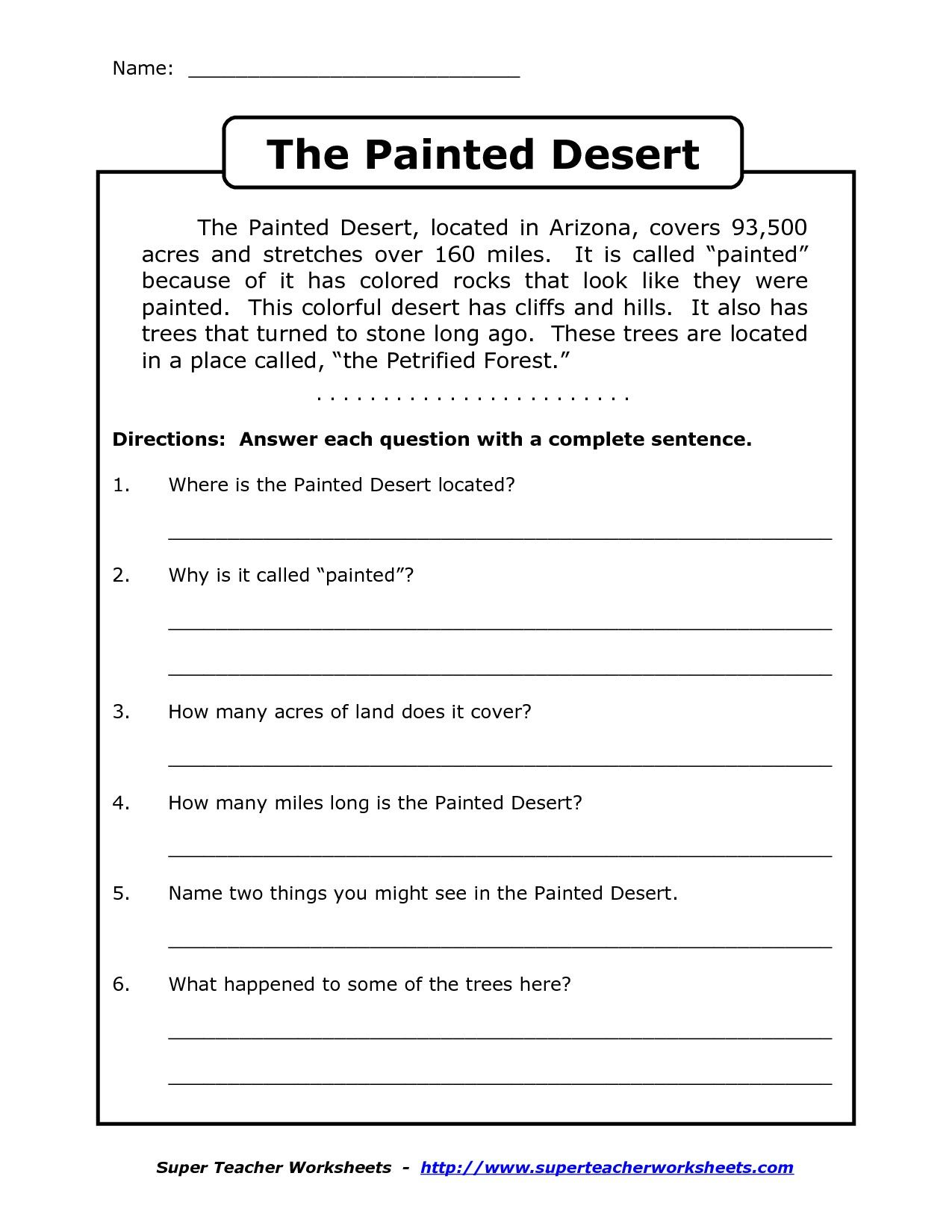 Worksheet Comprehension Passages For Grade 2 comprehension worksheet for 1st grade y2p3 the painted desert arizona