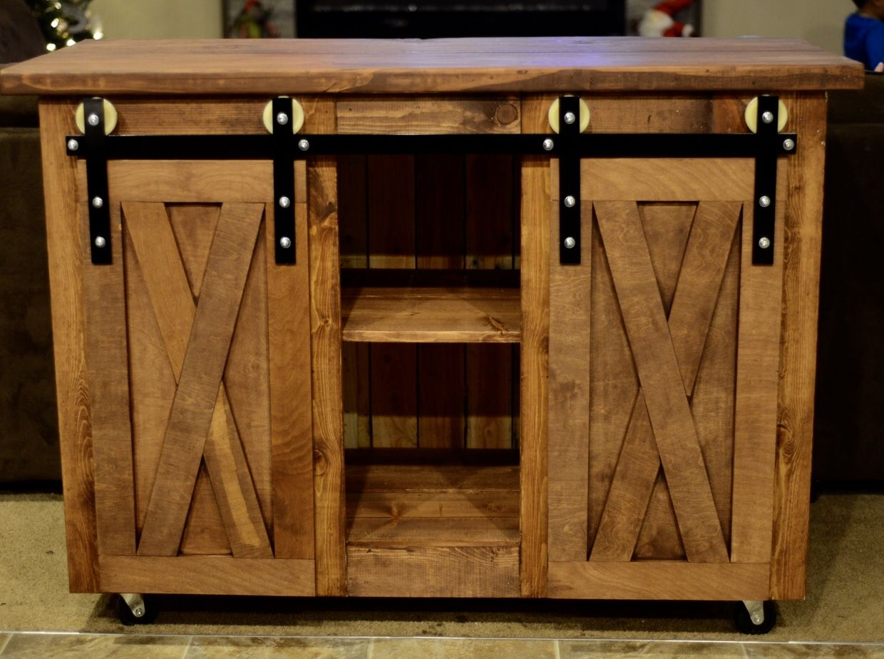 Custom 4 Ft Sliding Barn Door Console Table With Wheels My Customer Will Be Using This In Her New Kitche Diy Kitchen Island Barn Door Tables Barn Door Console
