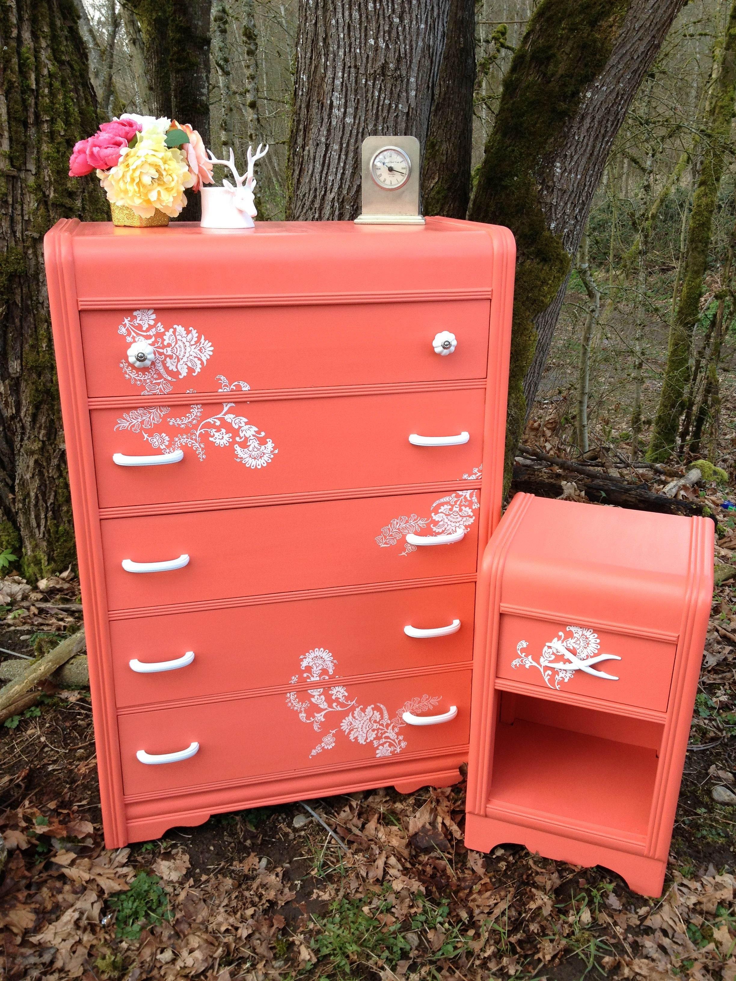 Vintage waterfall dresser and nightstand painted a vibrant for Waterfall design nightstand