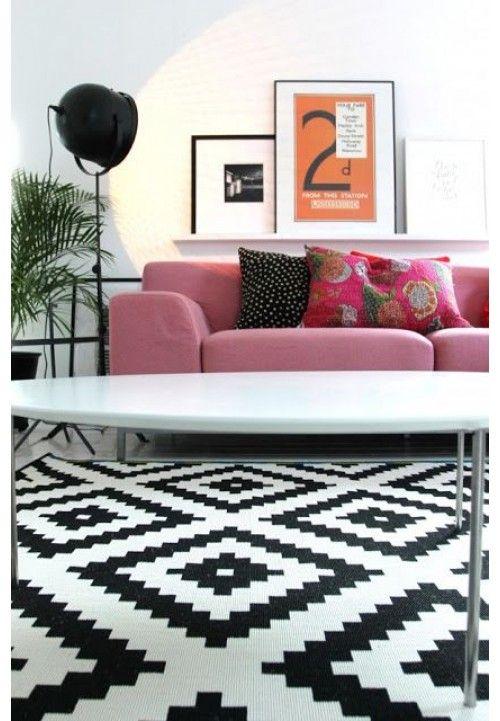Ikea Lappljung Rug 200x200 Low Pile White Black Living Room