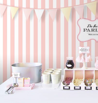 """I like the color scheme and some of the ice cream topping displays...  """"DIY Ice-Cream Parlour"""" by Eat Drink Chic."""