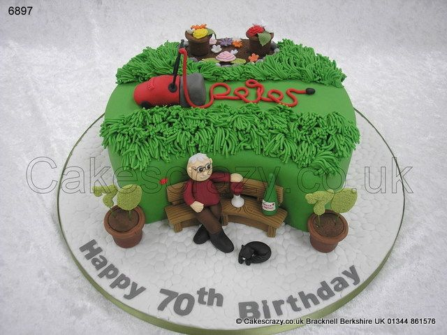 Mow The Lawn Cake Mowing The Lawn Themed Cake Complete With Flowers In The Beds Plants In Pots And Sugar Modelled Character T Garden Cakes Cake Themed Cakes