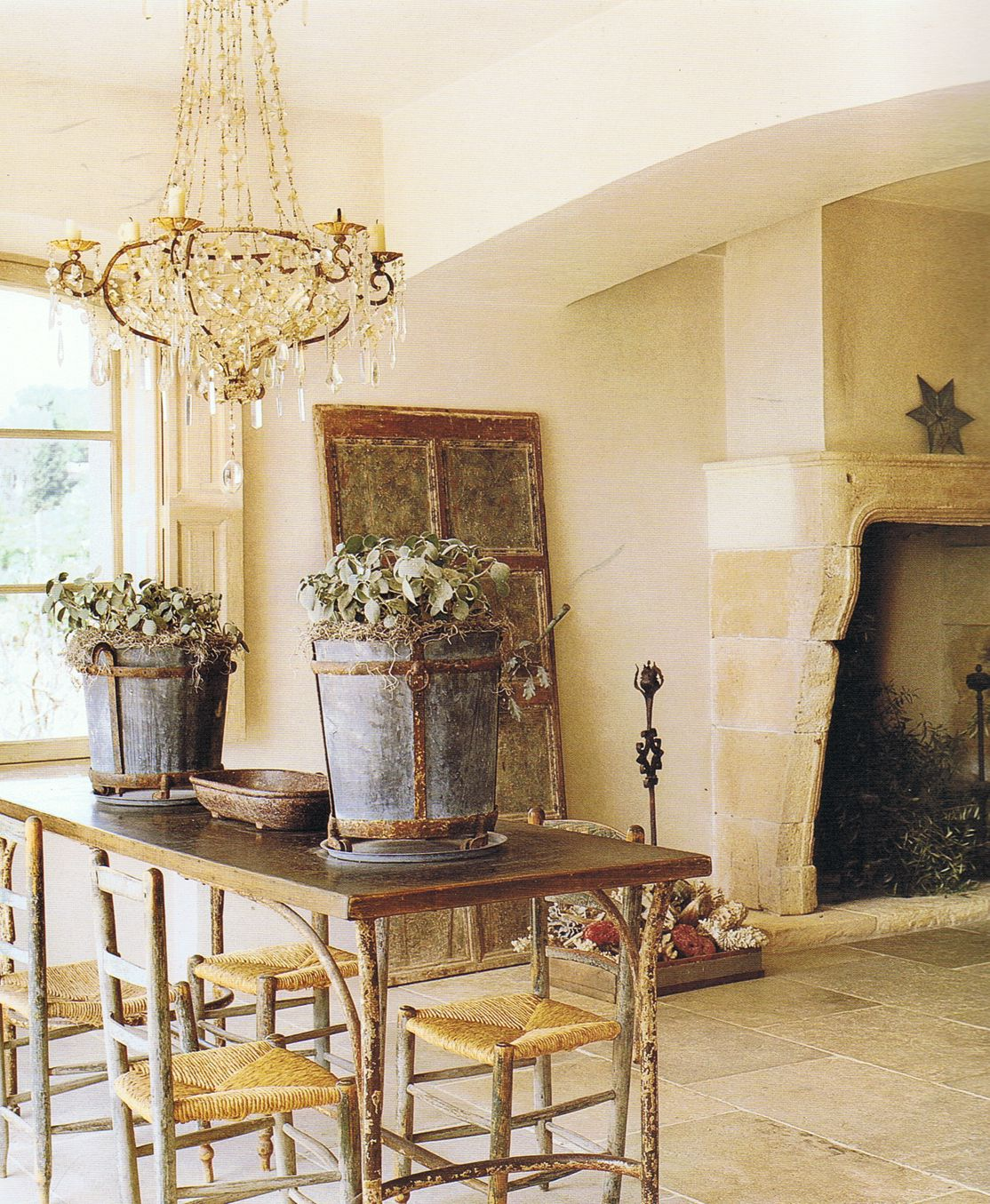 French Country Style Magazine Part - 30: COTE DE TEXAS: A Country French House: Authentic Elements. Look At This  Fireplace Mantel! Also The Limestone Floor.