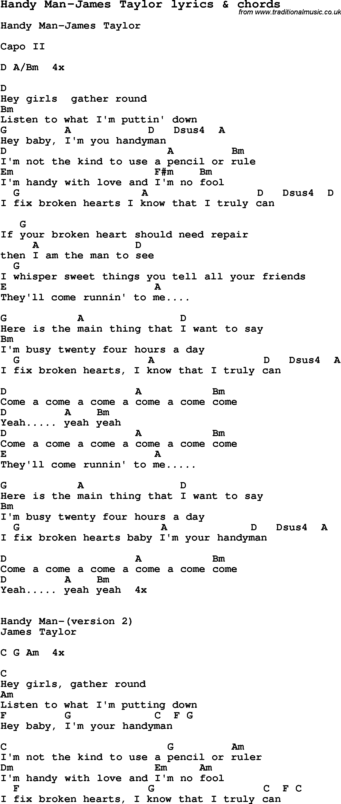 Love Song Lyrics For Handy Man James Taylor With Chords For Ukulele