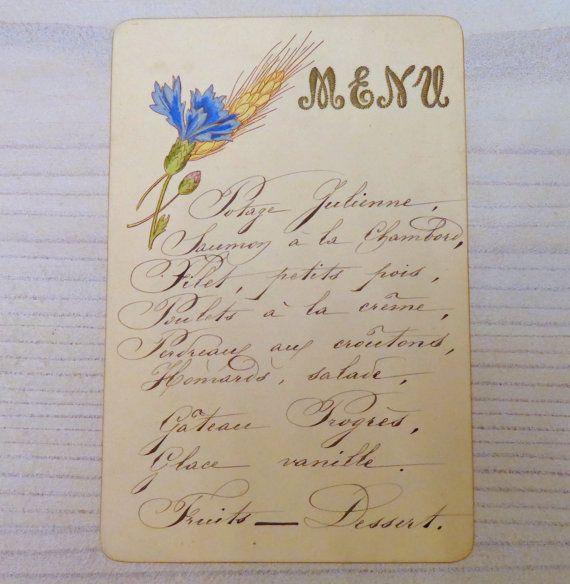 Antique French Menu Card Handwritten  Vintage Fine Dining