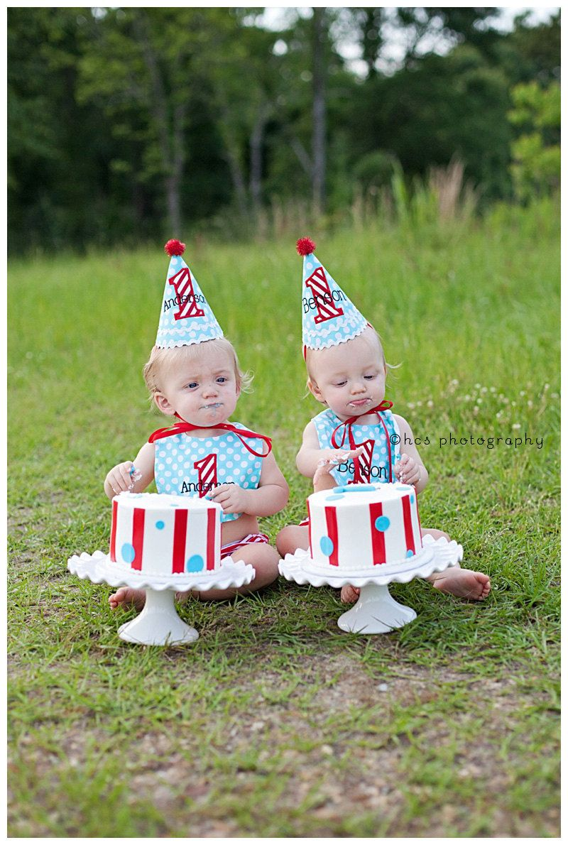 Boys 1st Birthday Party Hat and Bib for TWINS Darling aqua blue