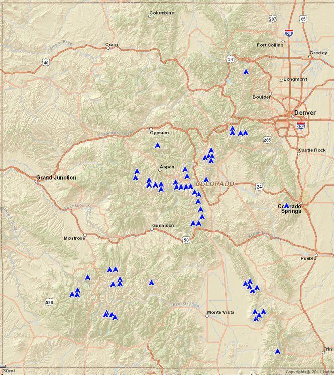 Map of Colorado's 14ers | Colorado | Pinterest | Colorado