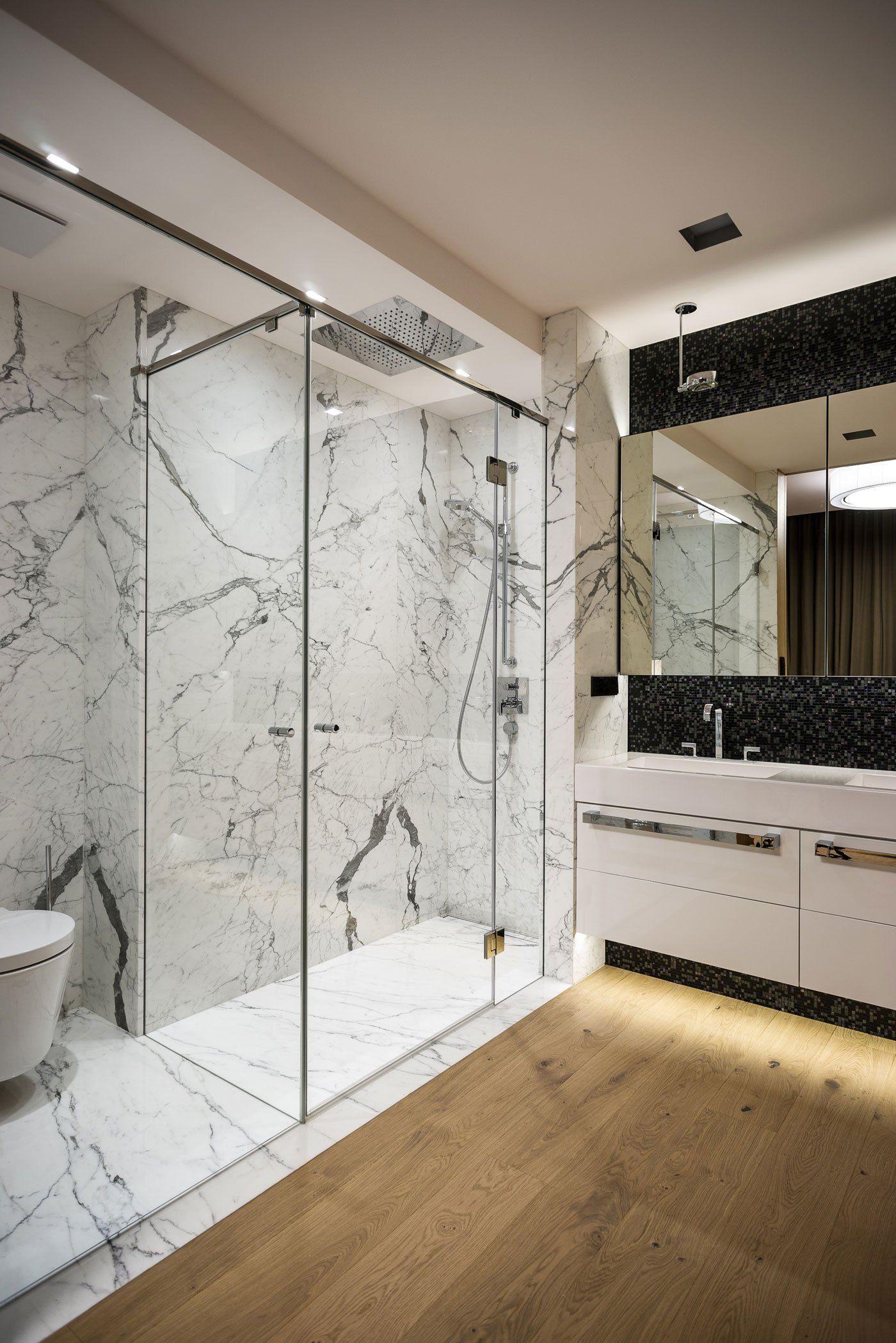 Modern Apartment Interior Design Shower Are Finished In Italian Marble Minimalist Bathroom Design Trendy Bathroom Designs Minimalist Bathroom
