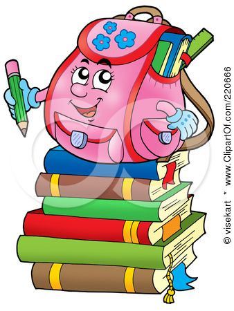 Royalty Free Rf Clipart Illustration Of A Pink Backpack Character On A Stack Of Books By Viseka Welcome To Kindergarten Pink School Bags Kindergarten Clipart